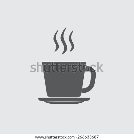 Cup of hot coffee or tea icon. Vector illustration. - stock vector