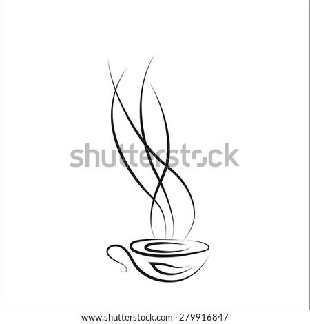 Cup  of hot coffee. Vector illustration - stock vector