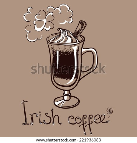 cup of irish coffee for decorate the cafe - stock vector