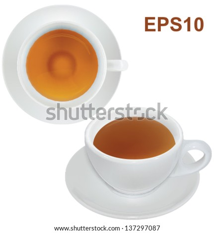 Cup of tea isolated on white background. Vector illustration. Mesh - stock vector