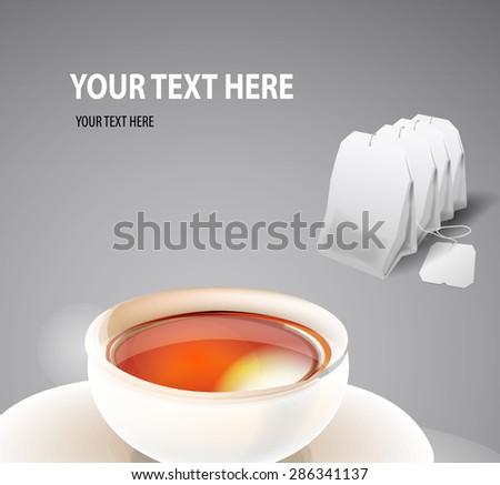 cup of tea with tea bag. Vector - stock vector