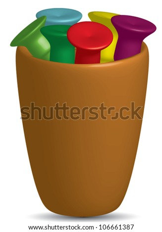 Cup Of Tees, selection of golf tees in different colors in a cup.Vector,EPS10 - stock vector