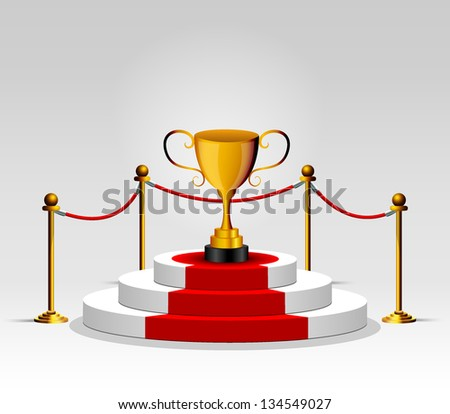 cup on podium - stock vector