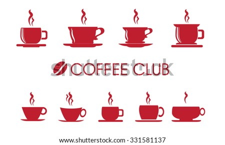 Cup or mug of coffee vector icons - stock vector