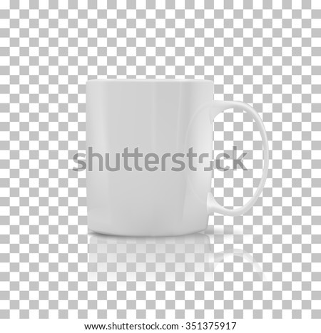 Cup or mug white color. Object coffee or tea, ceramic utensil, beverage breakfast, refreshment caffeine, handle container, realistic glossy elegance cup. Cup icon. Transparent background - stock vector