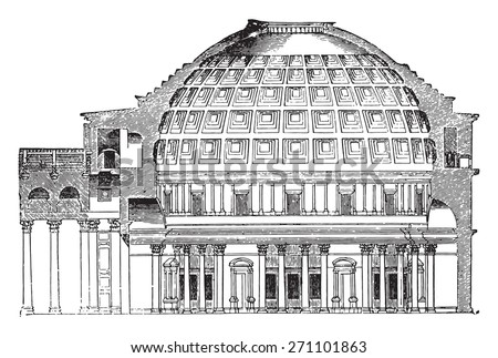 Cup Pantheon of Agrippa, vintage engraved illustration. Industrial encyclopedia E.-O. Lami - 1875.  - stock vector