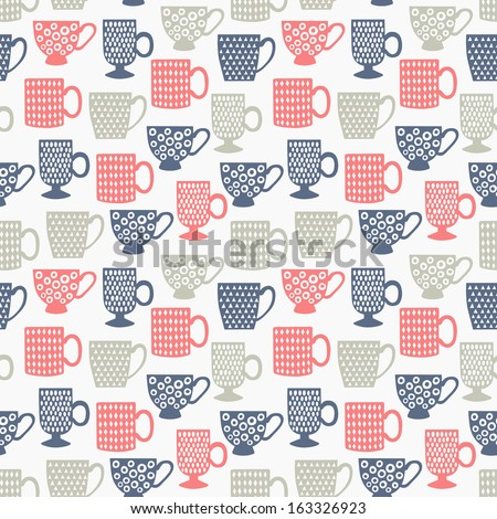 cup seamless pattern  - stock vector