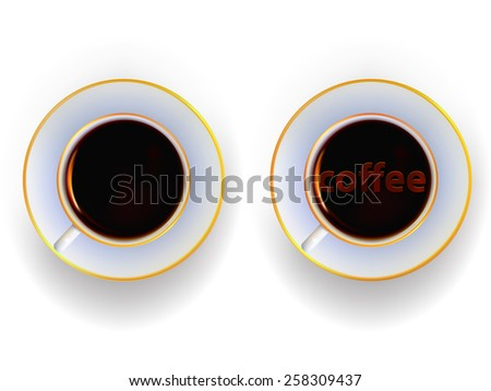 Cup with a drink of coffee in a vector gradient mesh - stock vector