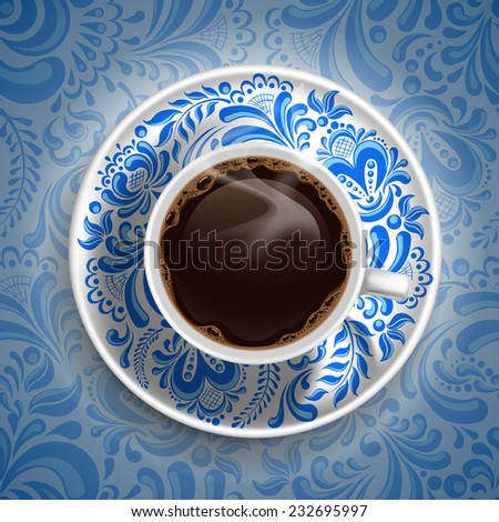 Cup with fresh hot coffee on luxury painted saucer and ornate background in Russian style Gzhel. Vector illustration. - stock vector