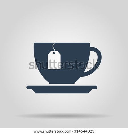 cup with tea bag. Flat design style eps 10 - stock vector