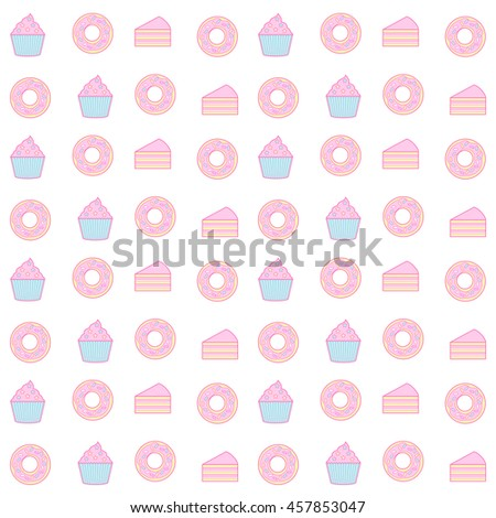 cupcake and donut seamless pattern background - stock vector