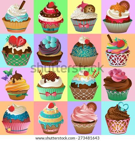 Cupcake Background Vector - stock vector