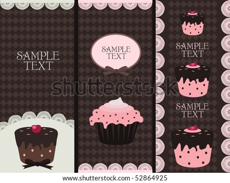 cupcake banners - stock vector