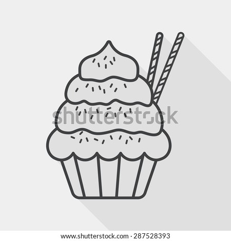 cupcake flat icon with long shadow, line icon - stock vector