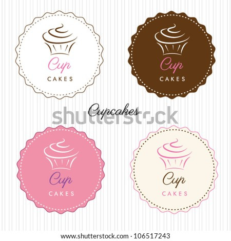cupcake set - stock vector