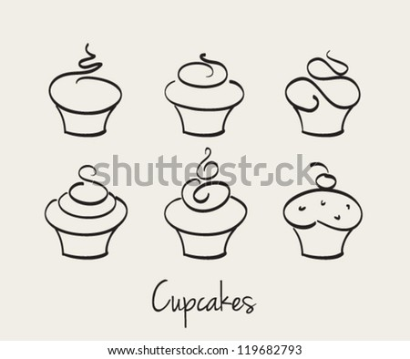 Cupcake set hand drawn vector - stock vector
