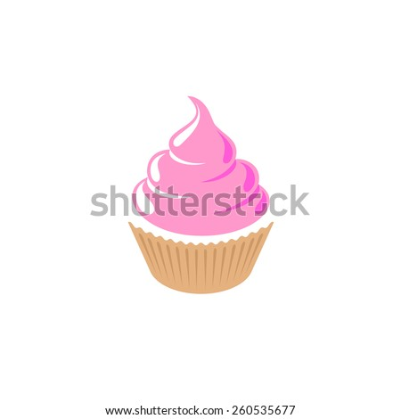 Cupcake shop logo template. Pink creamy glossy cake illustration. - stock vector