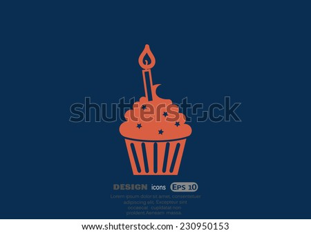 cupcake, web icon. vector design - stock vector