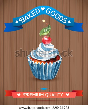 Cupcake with cherry and cream. Hand drawn watercolor painting on wood background, vector illustration.  - stock vector