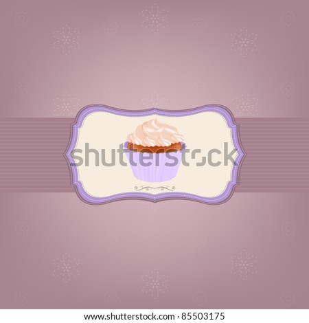 Cupcake With Cream, Vector Illustration - stock vector