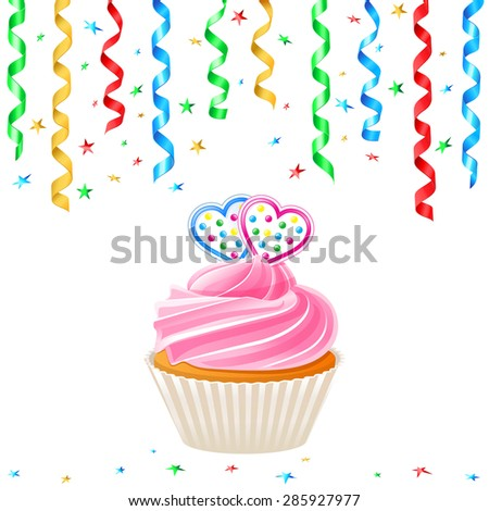 Cupcake with hearts and streamer - stock vector