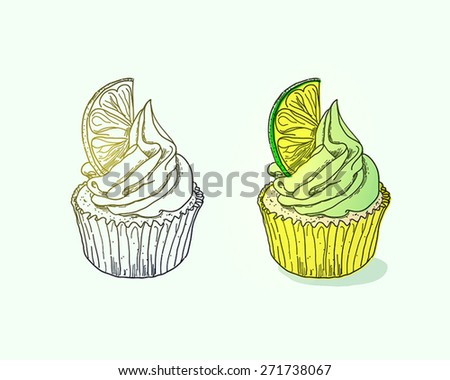 Cupcake with lime on light background - stock vector