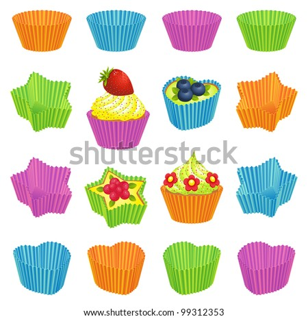 Cupcakes and colorful baking cups - stock vector
