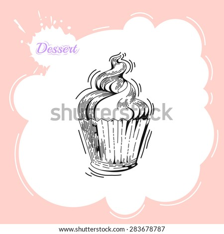 Cupcakes. Poster in vintage style. Bakery advertisement design template. Baking the best pastry food poster template with cupcakes vector illustration - stock vector
