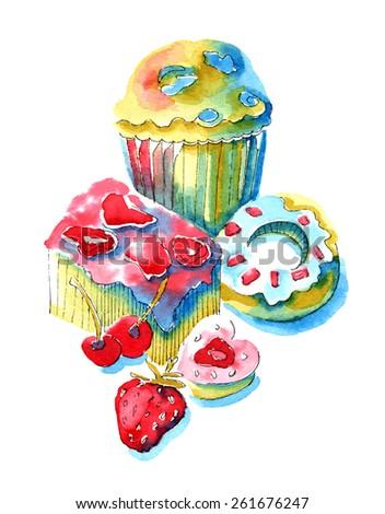 Cupcakes. Watercolor vector illustration - stock vector