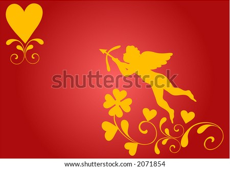 Cupid  and heart background. Illustration is in easily scalable and editable vector format. - stock vector
