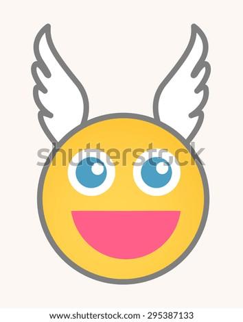 Cupid - Cartoon Smiley Vector Face - stock vector