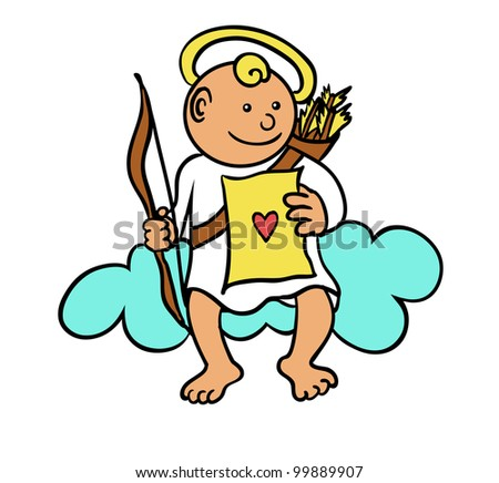 cupid on a cloud - stock vector