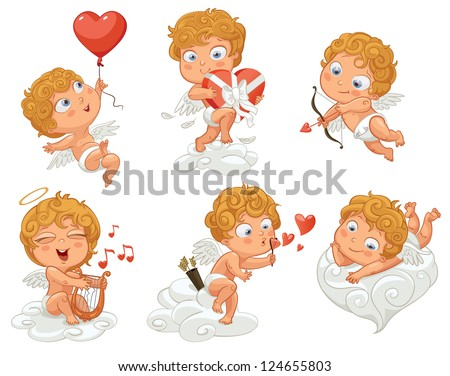Cupid playfully lies on a cloud, flying in a balloon in the shape of heart, holding a box of chocolates, shoots a bow, playing music on the lyre, blow bubbles. Vector illustration. White background - stock vector