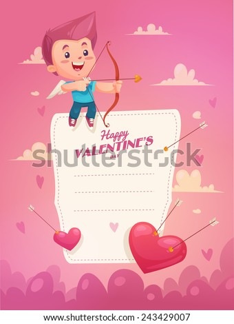 Cupid with arrow. Valentine's Day Card. Make give and  present.  Idea for greeting card.  Eps 10 - stock vector