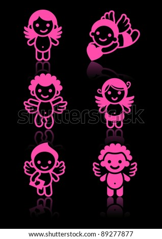 Cupids set, pink on black background - stock vector