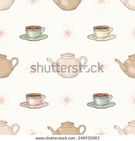 Cups and teapots with floral tea seamless pattern. Vintage engraving style - stock vector