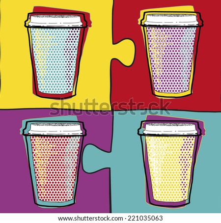 Cups in Pop Art style.Coffee drinking cups.Vector illustration.Party.Hot drinks.Pop art poster for cafeteria. Coffee cup design. cafeteria poster design. poster design for coffee shops and cafeterias  - stock vector