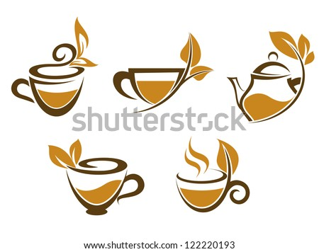 Cups of tea with brown leaves for fast food or herbal drinks design, such a logo template. Jpeg version also available in gallery - stock vector