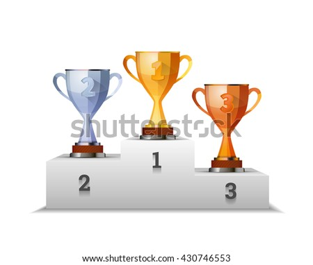 Cups of winners award on white podium isolated on white - stock vector