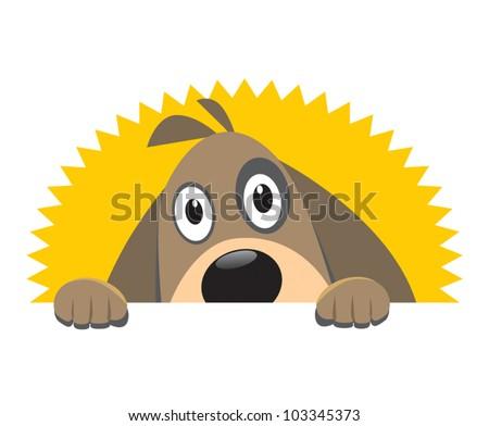 Curious dog - stock vector