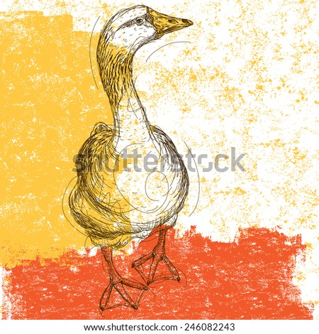 Curious Goose Sketchy goose over an abstract background. The bird and background are on separately labeled layers. - stock vector