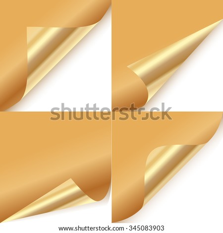 Curled corners of golden sheets - stock vector