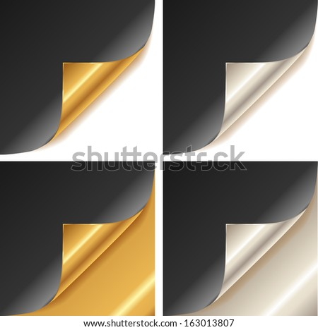 Curled golden and silver page corner set black paper - stock vector