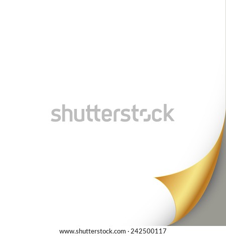 Curled golden page vector illustration - stock vector