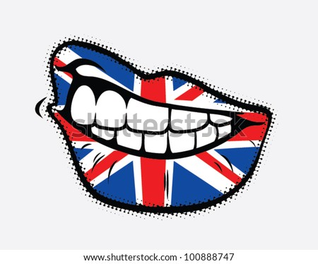 Curled lips with Great Britain flag - vector illustration - stock vector