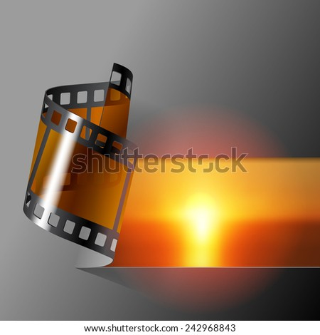 Curled photo film strip with sea sunset background. Movies and Photo album cover. Vector illustration - stock vector