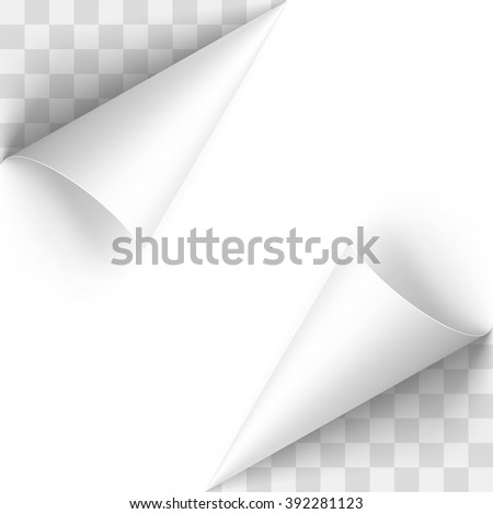Curled White Papers Corners with Transparent Background - stock vector
