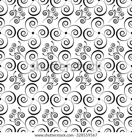 curls monochrome seamless pattern - vector illustration. Spiral - stock vector
