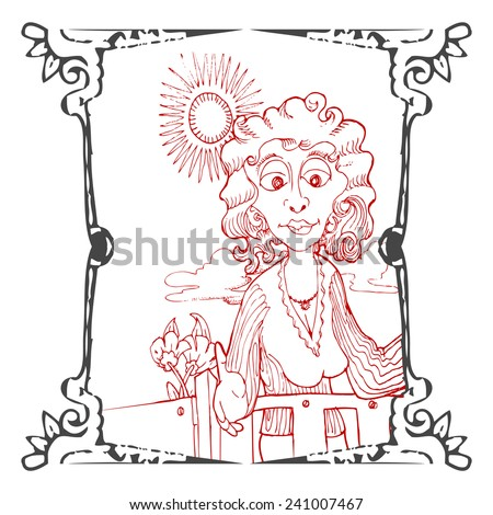 curly girl illustration hand draw in grunge ornamental frame - stock vector