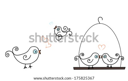 Curly tailed birds in love  - stock vector